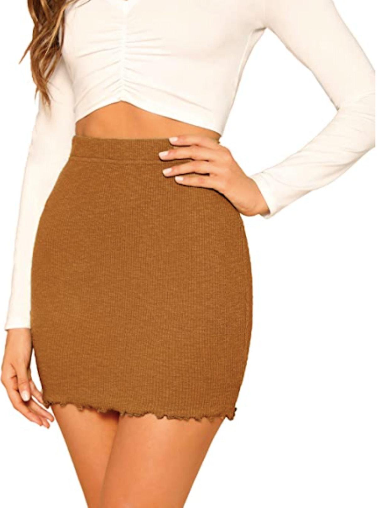Shein Ribbed-Knit Stretchy Mini Skirt