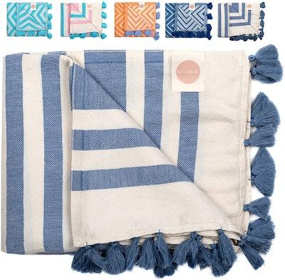 Nova Blue Turkish Beach Towel