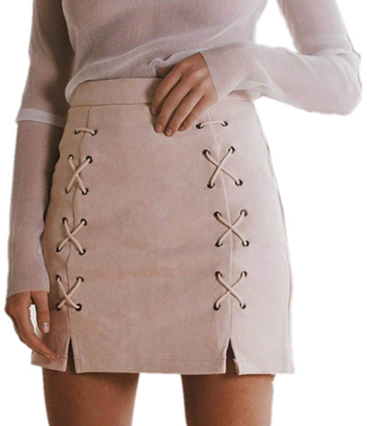 katiewens Lace Up Faux Suede Mini Pencil Skirt