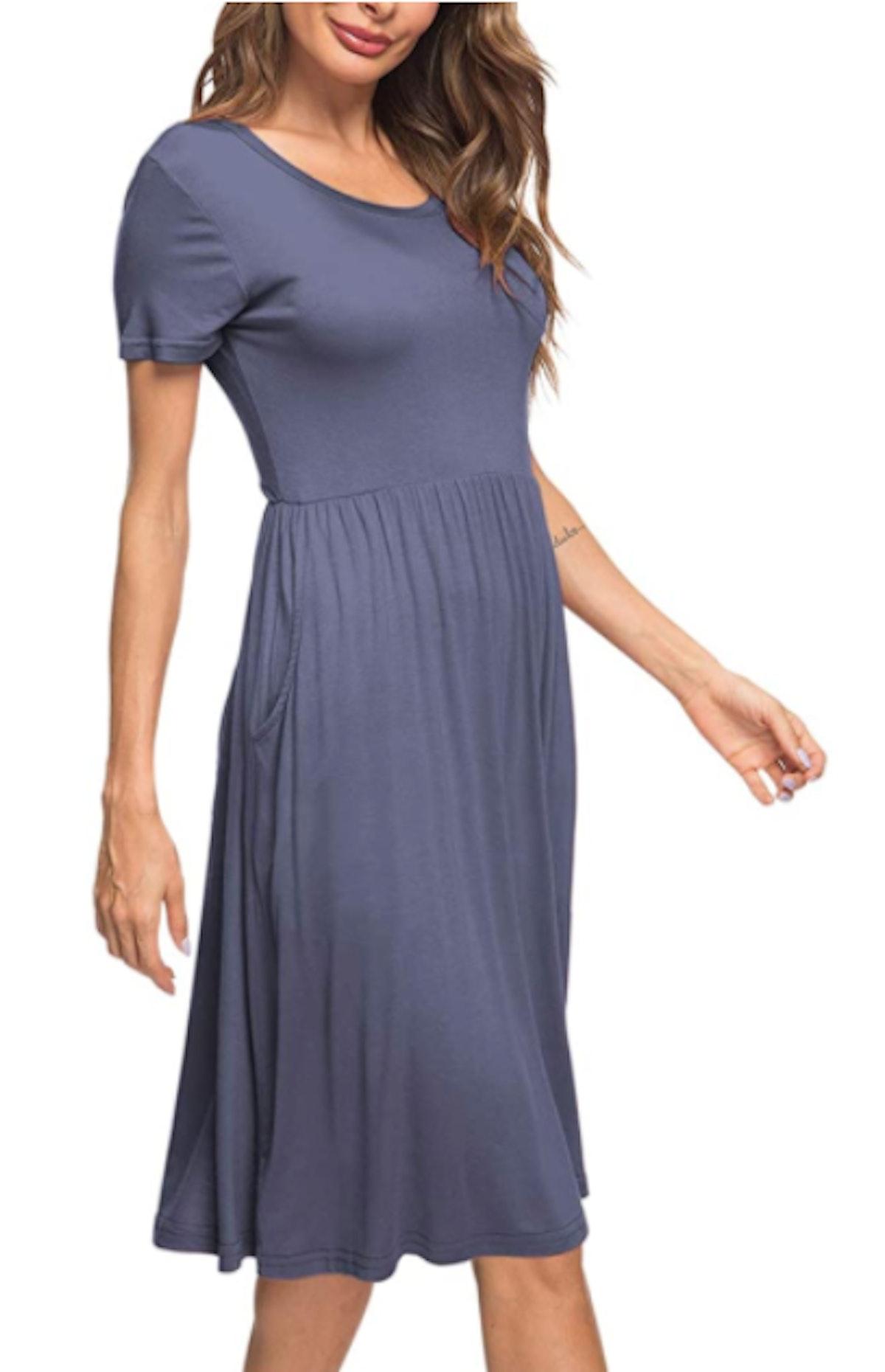 AUSELILY Short Sleeve Empire Waist Dress
