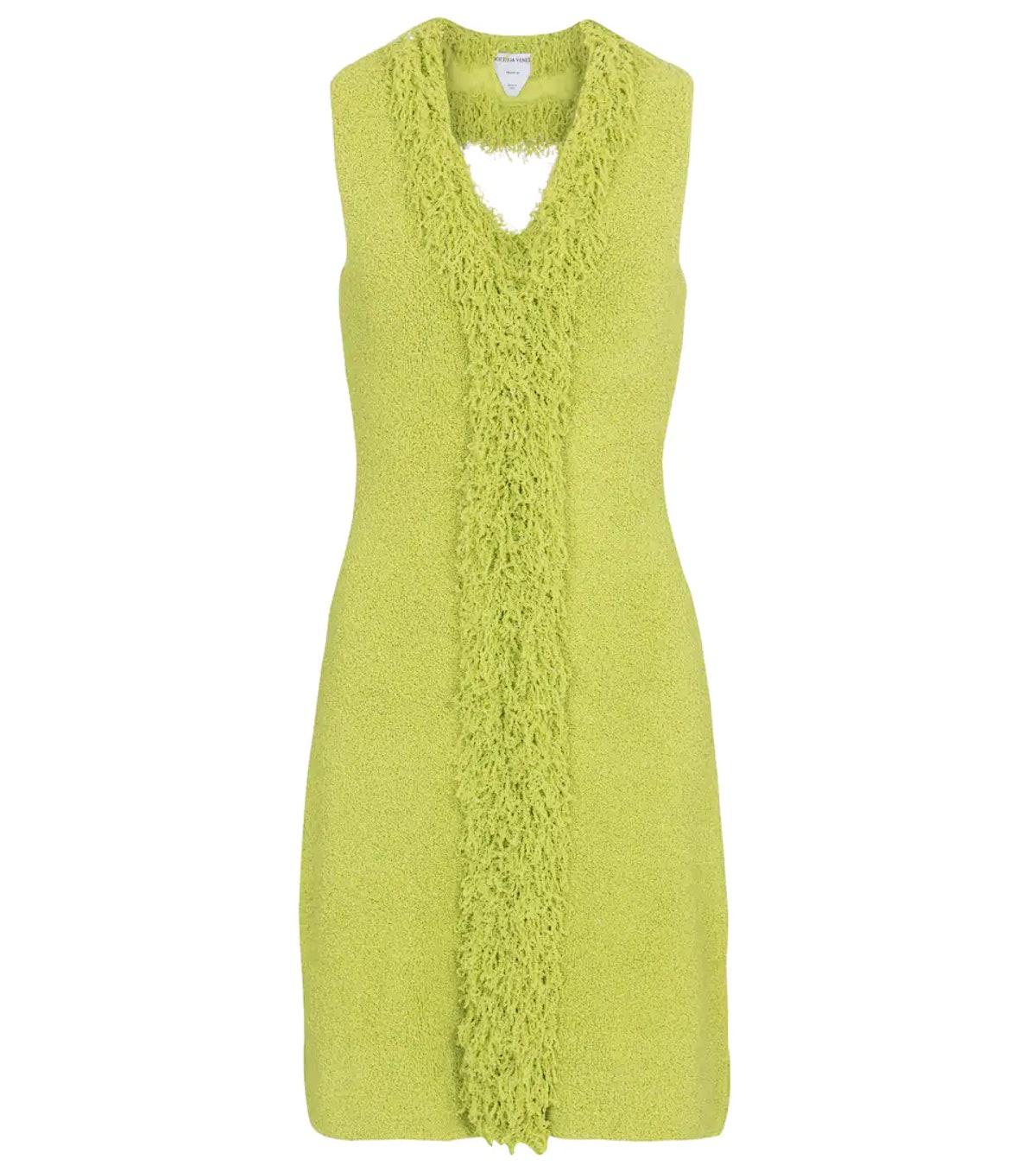 Green toweling knit dress from Bottega Veneta, available to shop on Mytheresa.