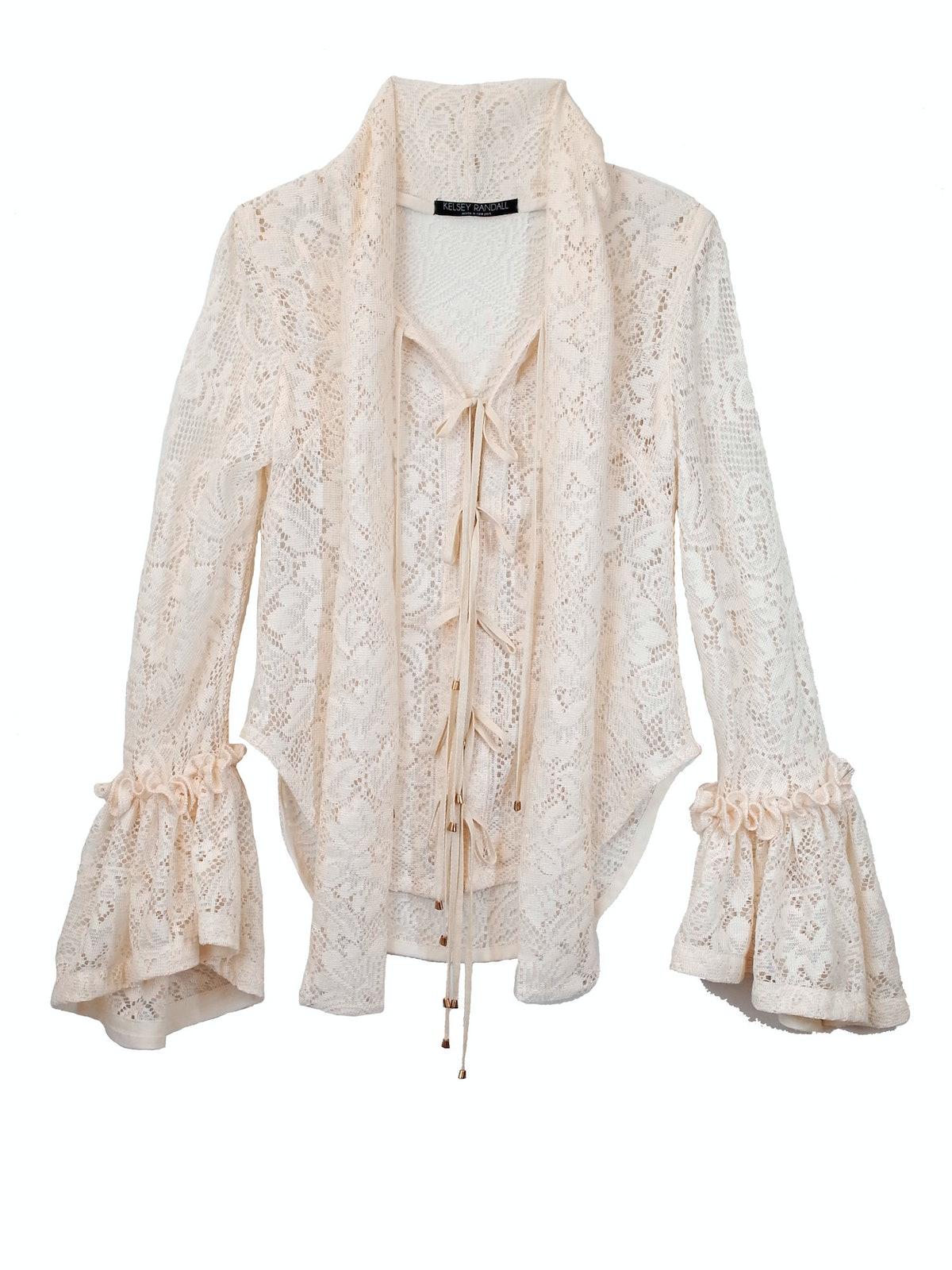 Kelsey Randall Prince Lace Flounce Sleeve Tie Blouse