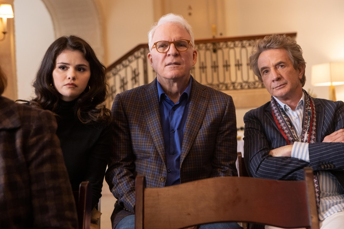 Mabel (Selena Gomez), Oliver (Martin Short), and Charles (Steve Martin) in Only Murders In the Buil...