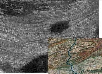 Fold mountains in Ovda Regio, Venus. The insert is a similar view of part of the Applachians in cent...