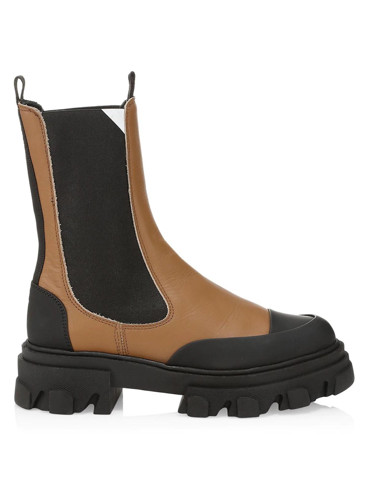 Ganni Lug-Sole Leather Combat Boots