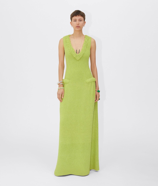 Towelling knit dress in green Seagrass color from Bottega Veneta.