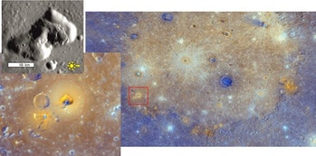 Right: most of Mercury's Caloris basin, its floor covered by dull, orange lava. Brighter orange patc...