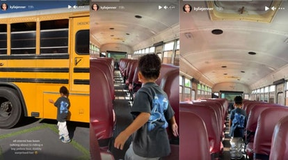 Travis Scott and Kylie Jenner surprised Stormi Webster with a school bus.