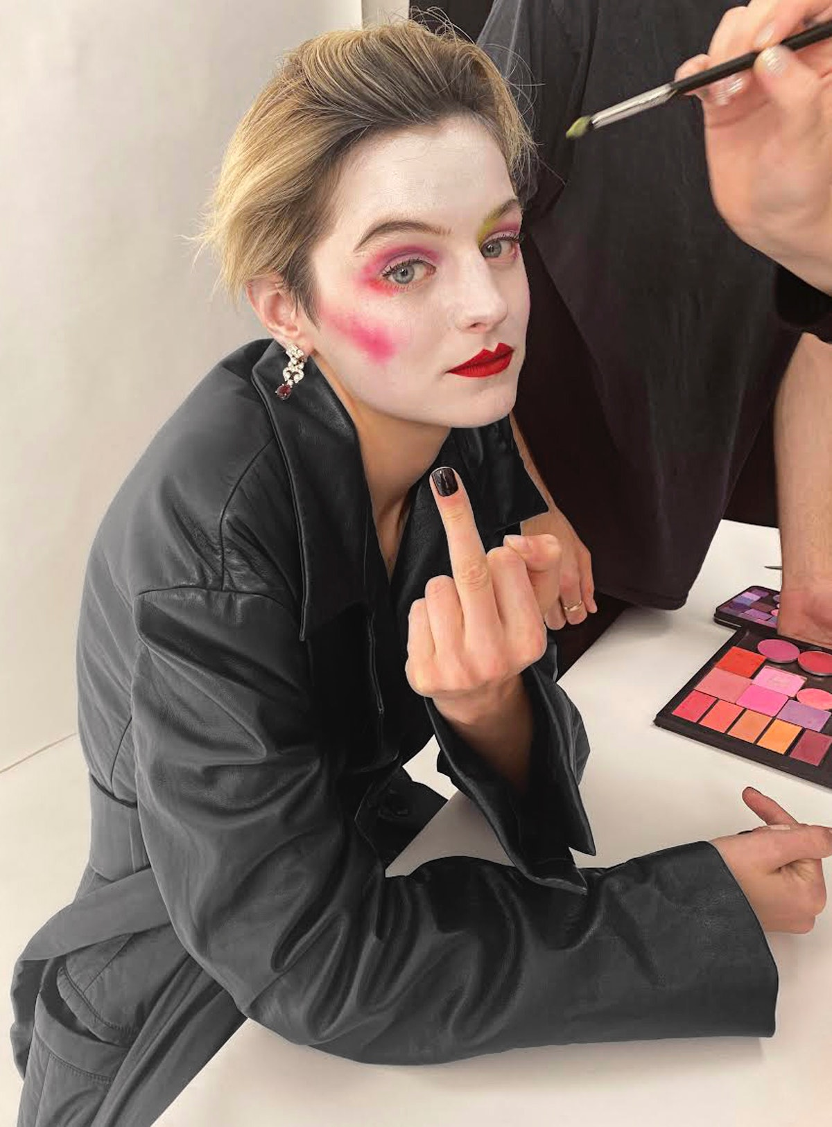 Emma Corrin getting an extreme beauty look.