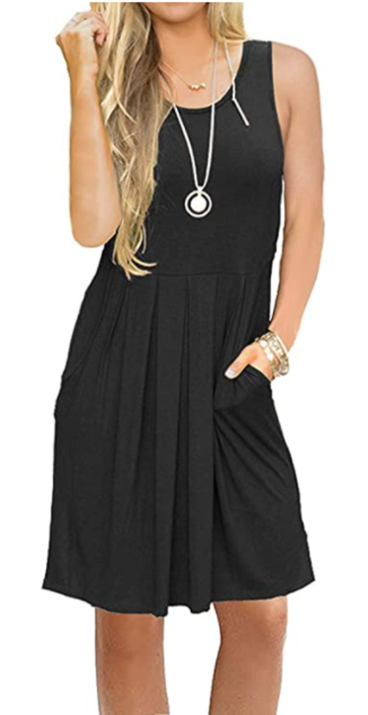 AUSELILY Sleeveless Pleated Swing Dress with Pockets