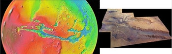 Valles Marineris seen in a color-coded topographic view as if from 5,000 km (3,107 miles) above the ...