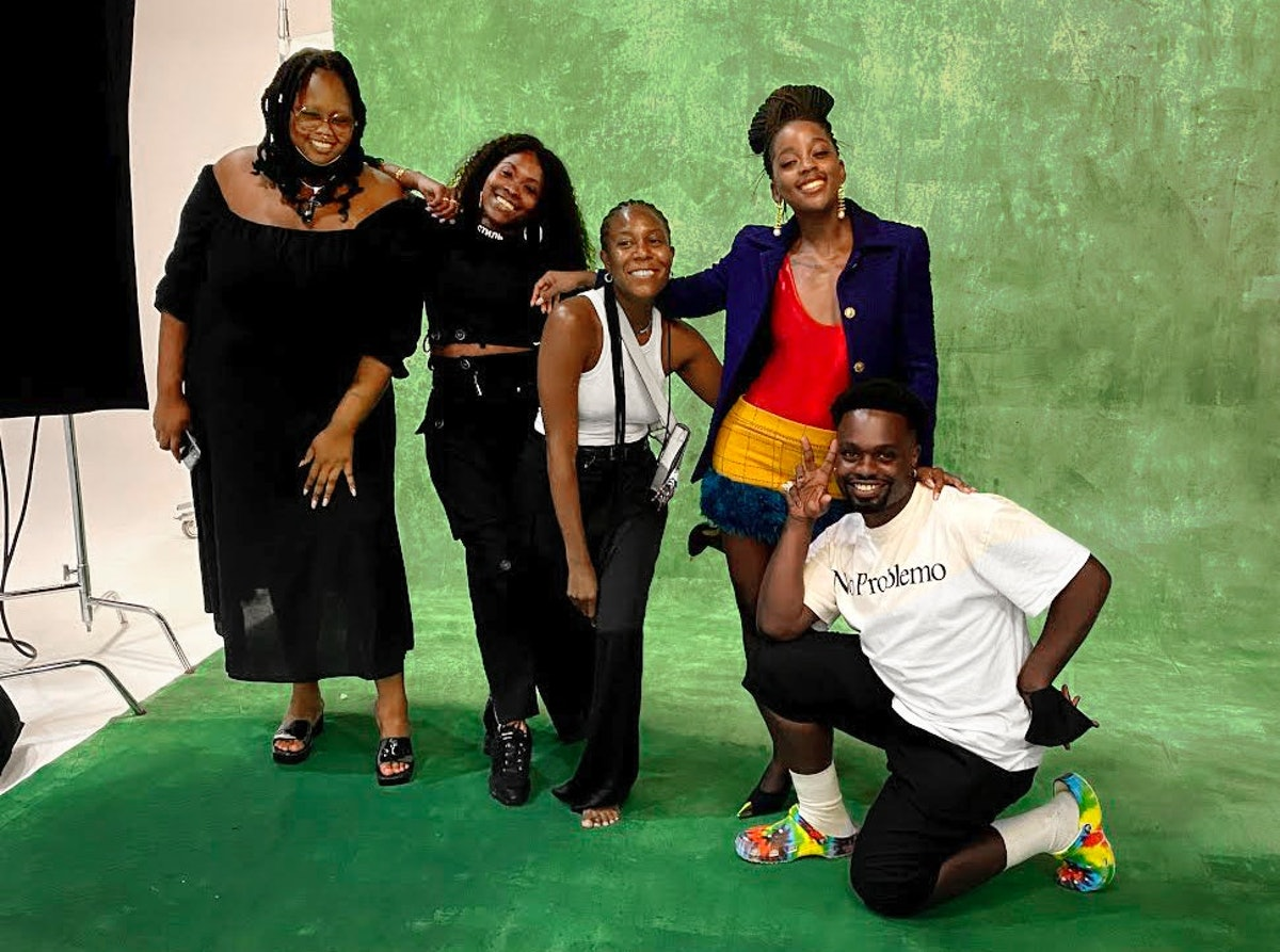 Makeup artist Raisa Flowers, hairstylist Lacy Redway, stylist Jessica Willis, actor Thuso Mbedu, and...