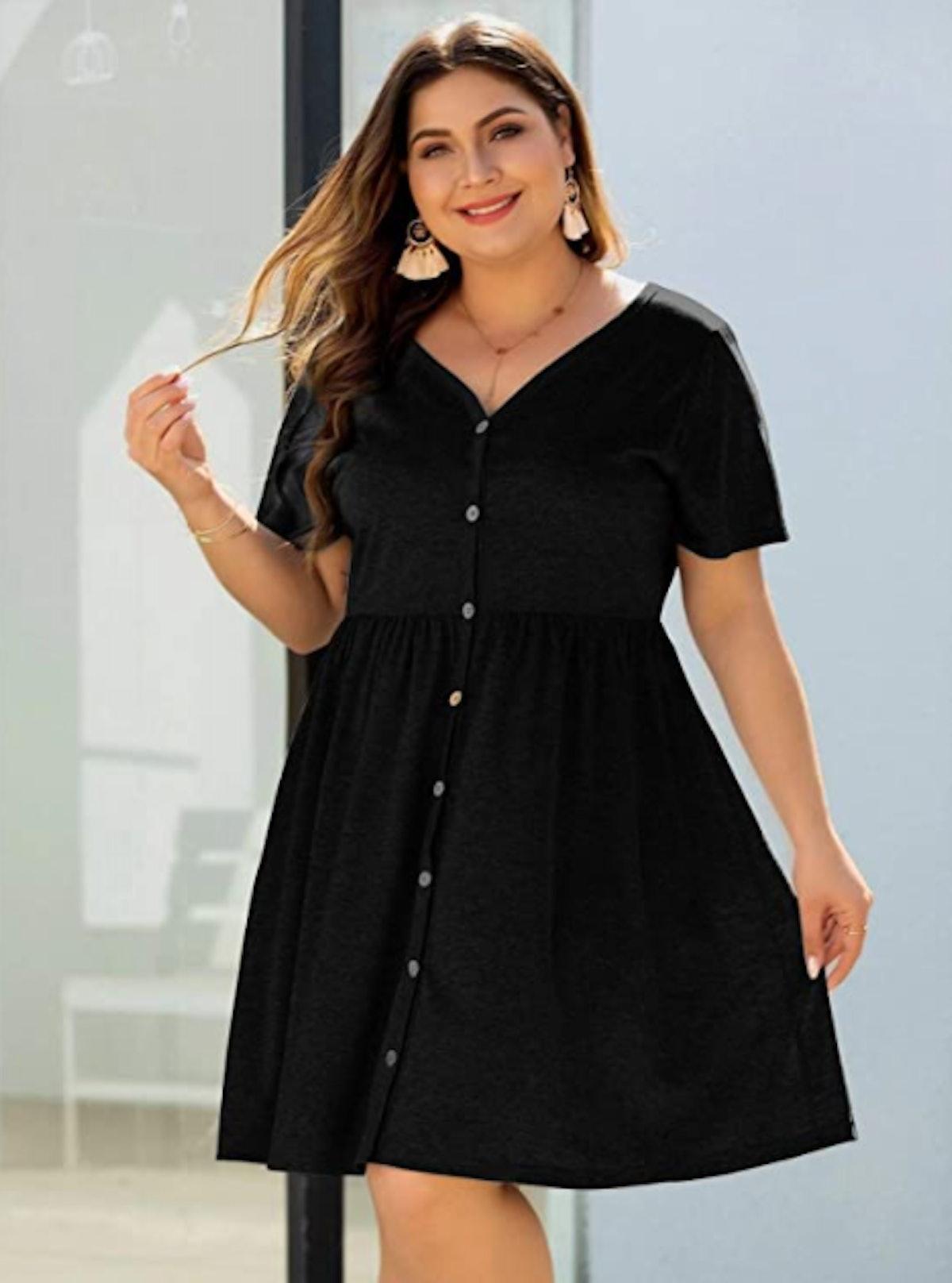 Milumia Plus Size A Line Button Front Dress