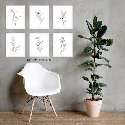 Botanical Plant Wall Art Prints (Set of 6)