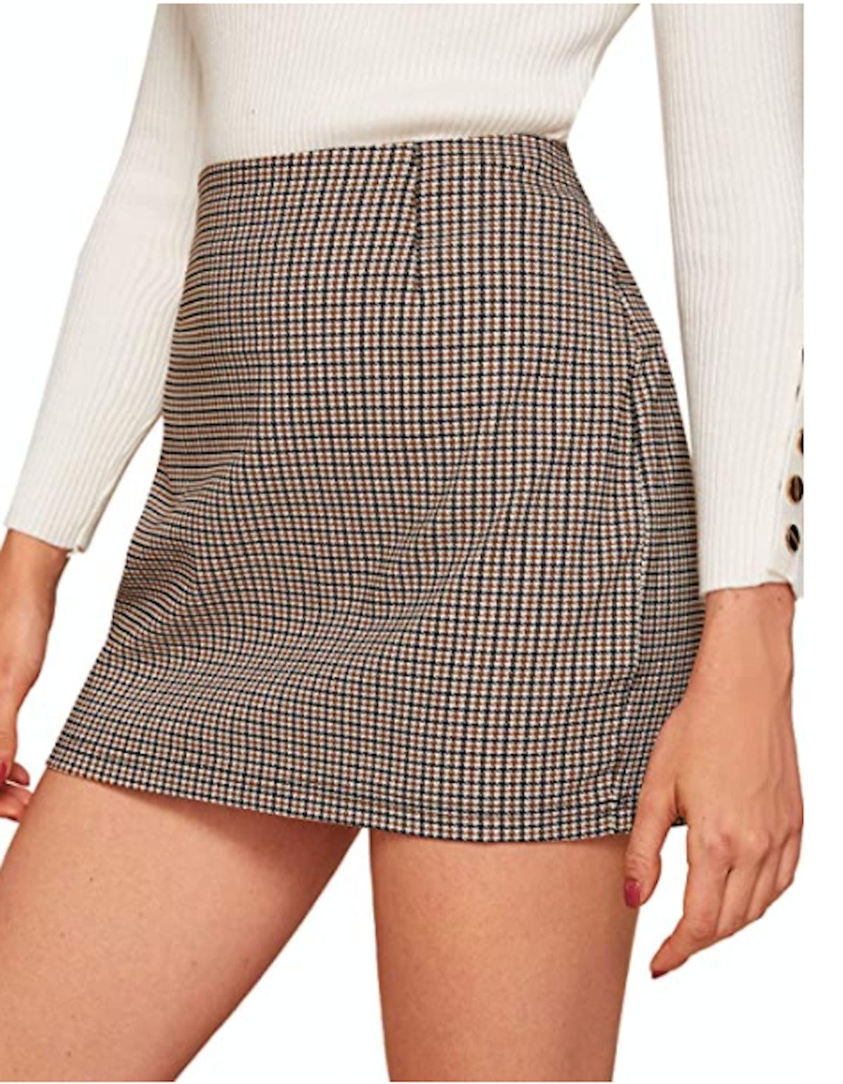 Floerns Plaid High Waist Mini Skirt