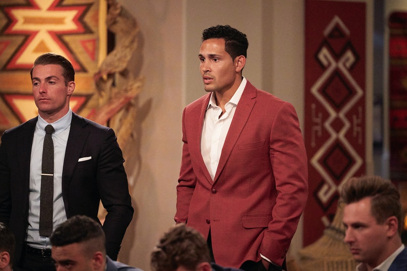 Thomas Jacobs being grilled by his co-contestants during Katie Thurston's season of 'The Bachelorett...
