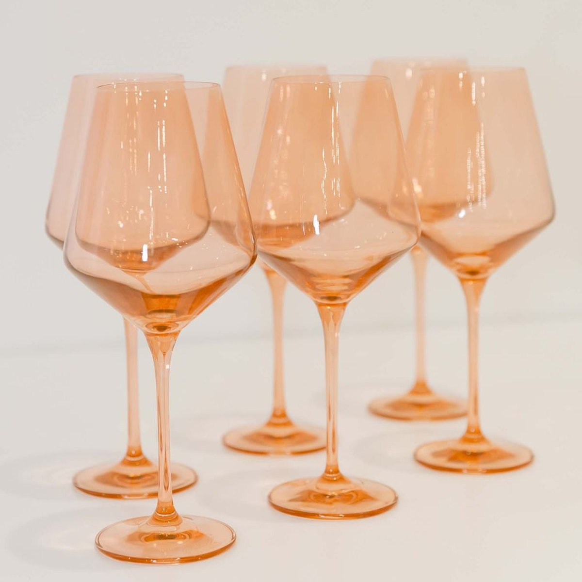 Colored Glass Stemmed Wine Glass