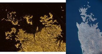 Left: Part of Titan's Ligeia Mare, showing a coastline with valleys drowned by a sea of liquid metha...