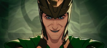 A very happy Loki at the end of What If? Episode 3