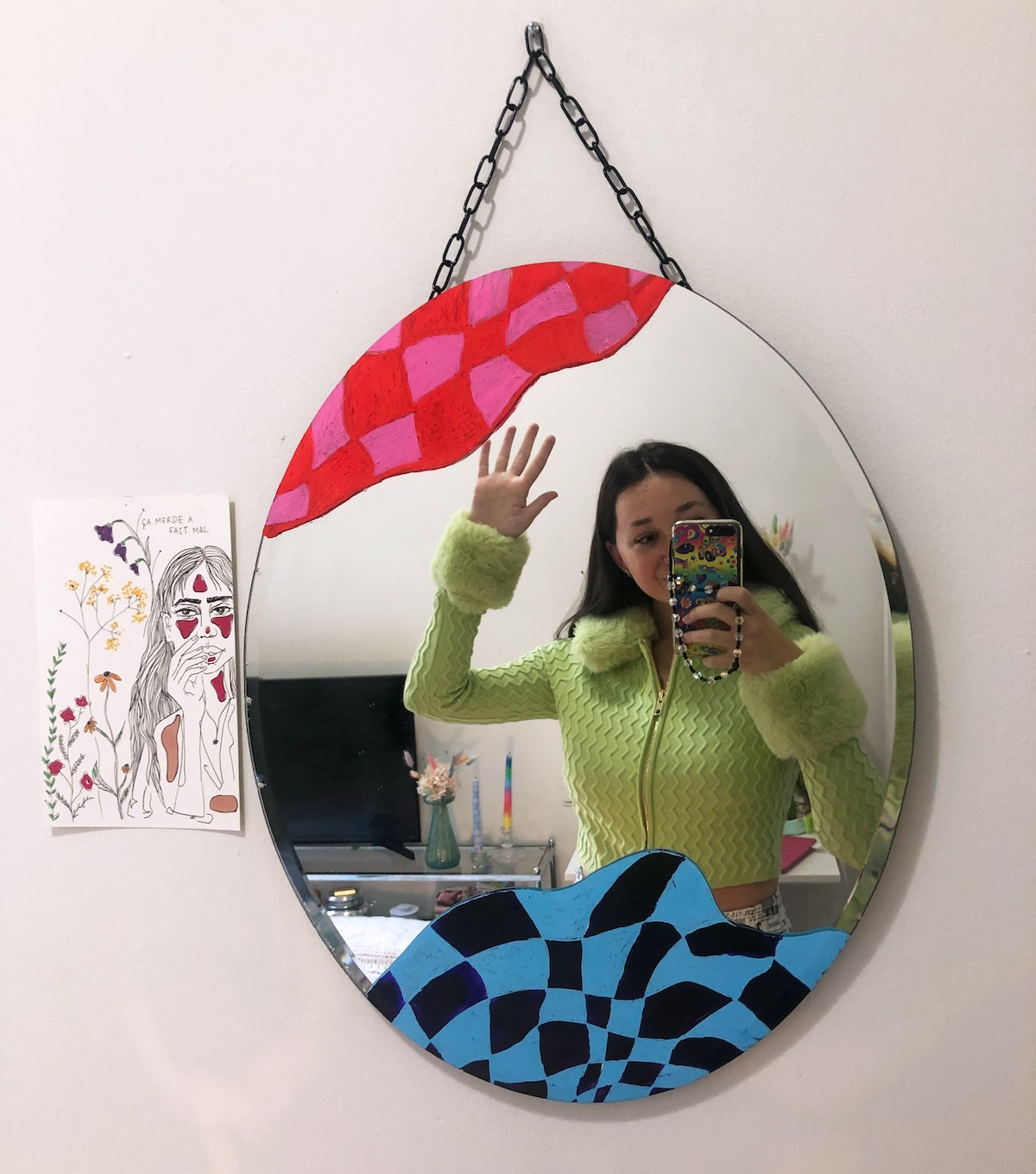 Emma Childs wears House of Sunny's green Peggy Cardigan.