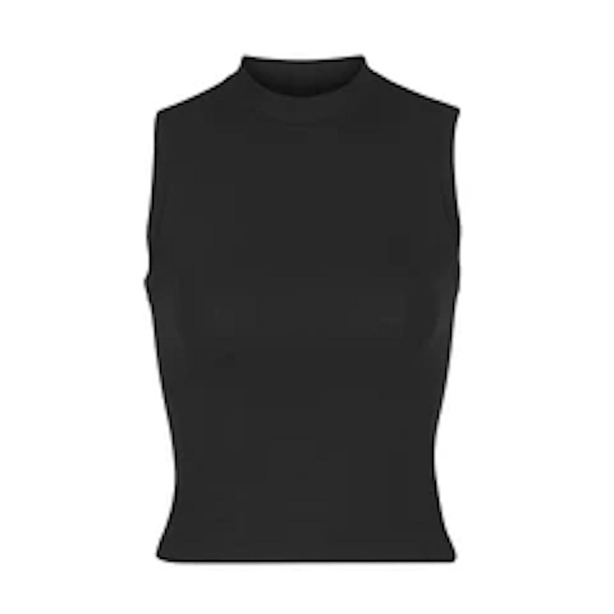 SKIM's cotton jersey mock neck tank in black.