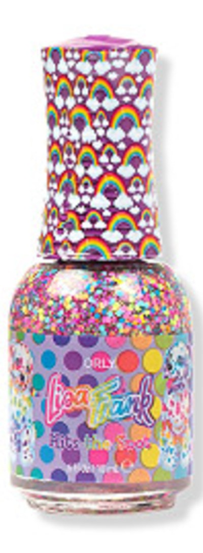 Image of Orly X Lisa Frank Confetti Topper nail lacquer, with circular multicolor bits of confetti.