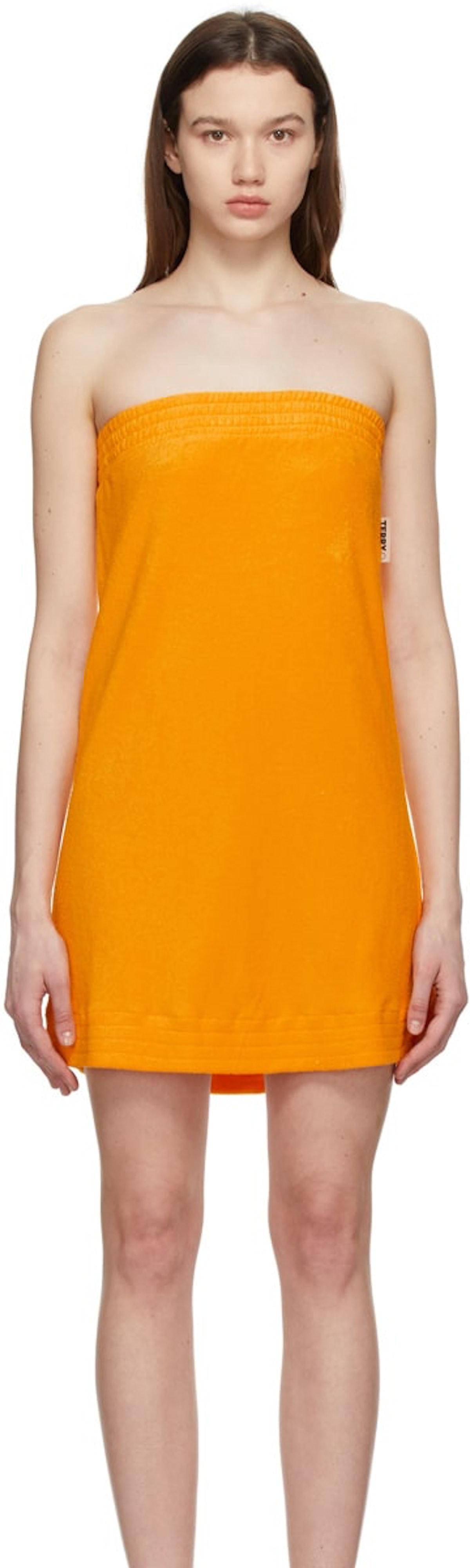 Orange Terrycloth Poi Dress from SIMON MILLER, available to shop on SSENSE.