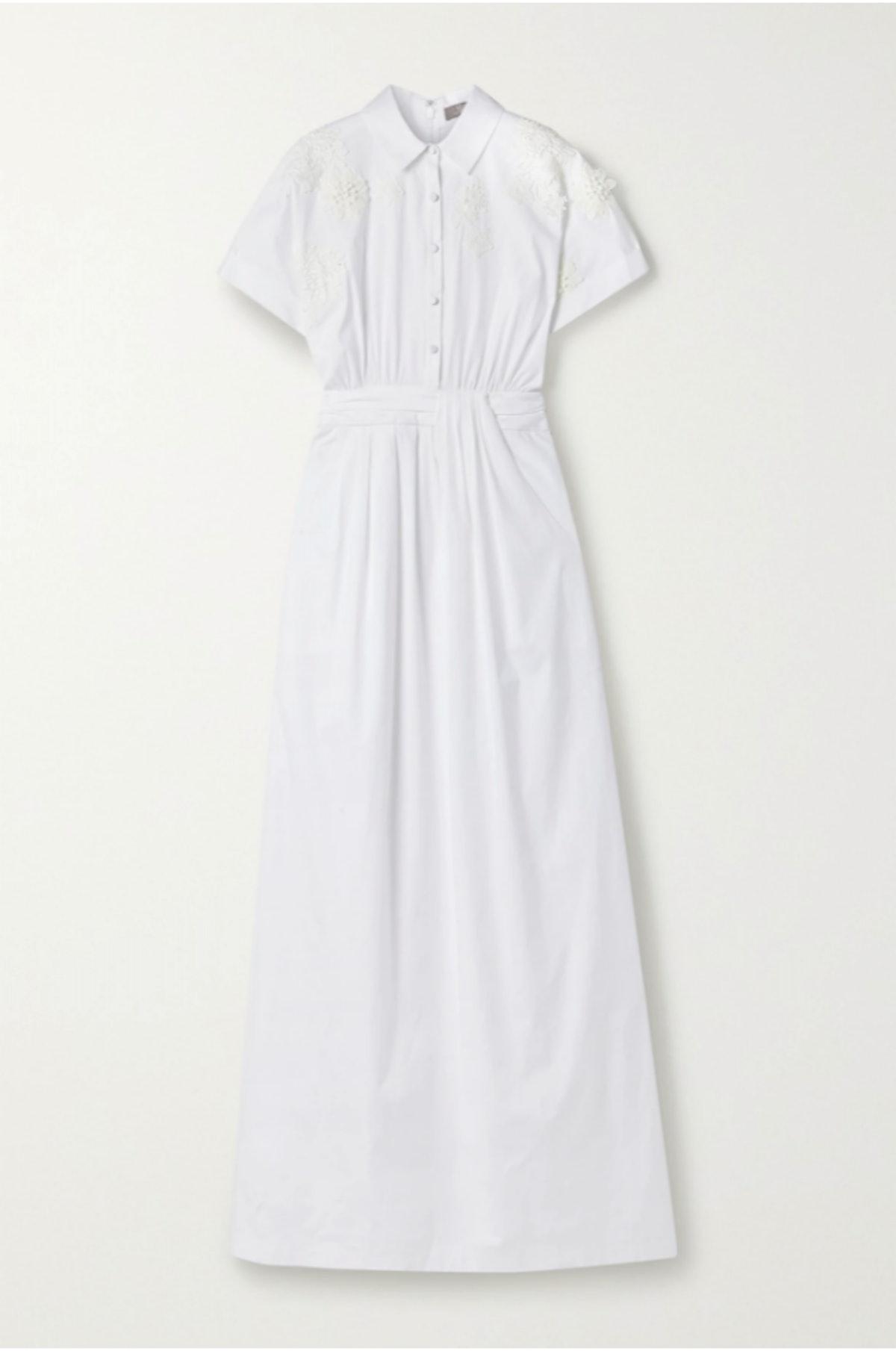 LELA ROSE's floral embellished cotton-blend poplin maxi shirt dress.