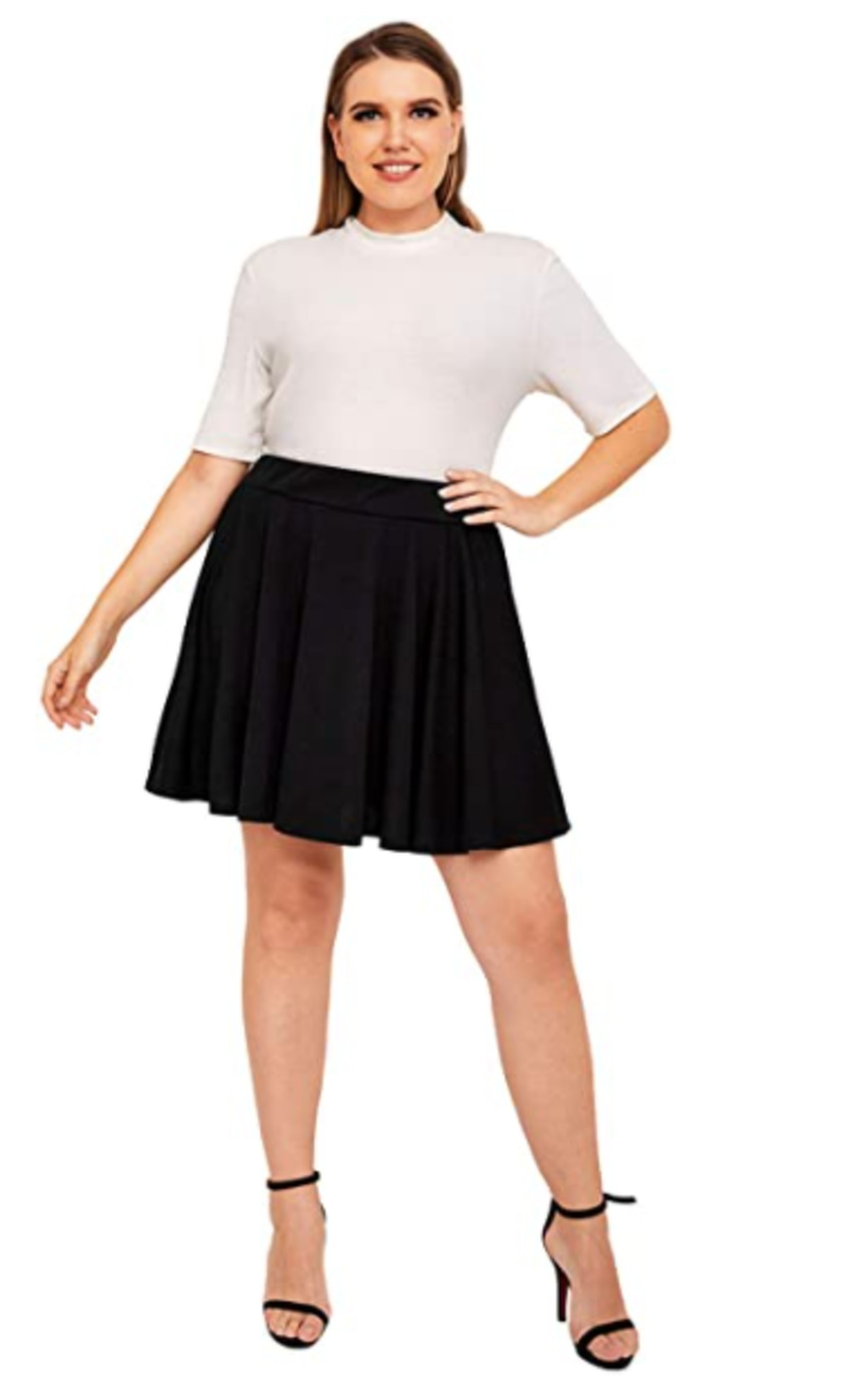Romwe Plus Size Flared Mini Skater Skirt