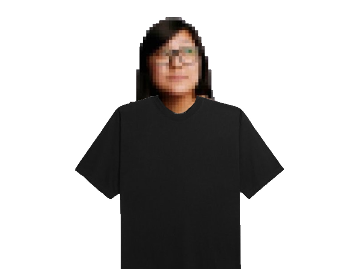 A photoshopped graphic of me wearing a black T-shirt.