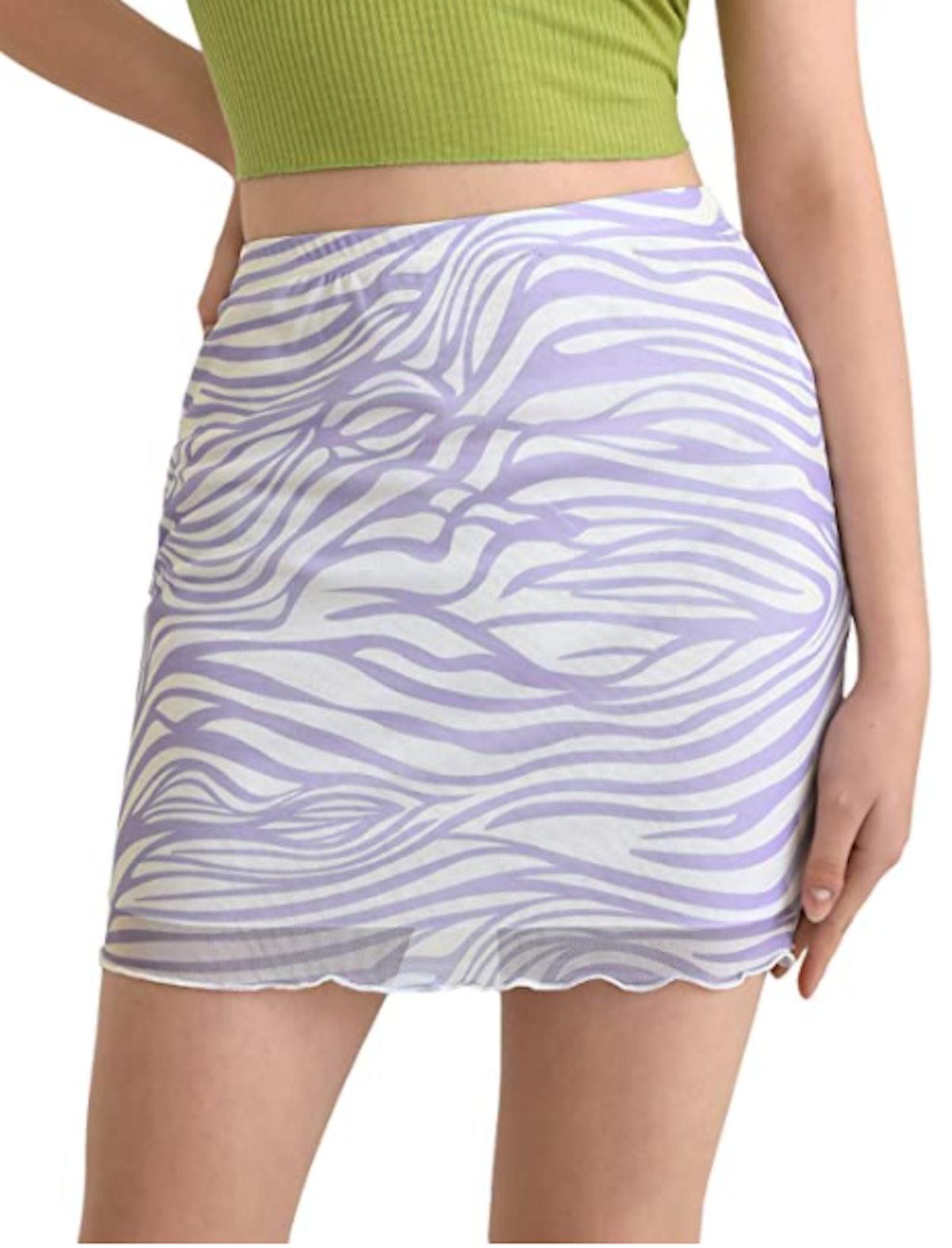 Verdusa Mesh Overlay Bodycon Mini Skirt