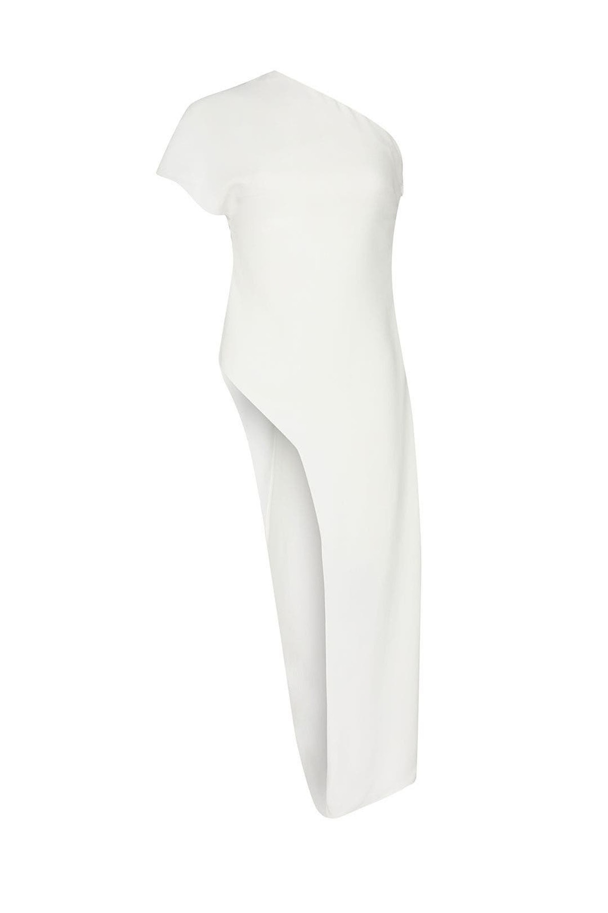 White one shoulder draped top from CUSHNIE, available to shop or rent via Rent The Runway.