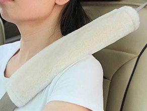 Amooca Soft Faux Sheepskin Seat Belt Shoulder Pad