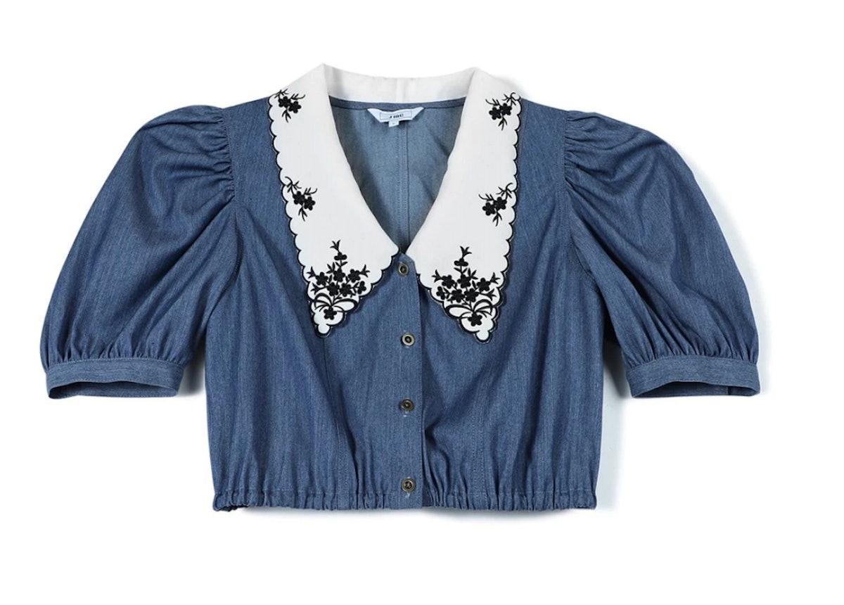 J.ING's blue embroidered vintage blouse.