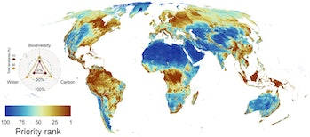 A map of the highest priority areas for biodiversity, water, and carbon conservation.