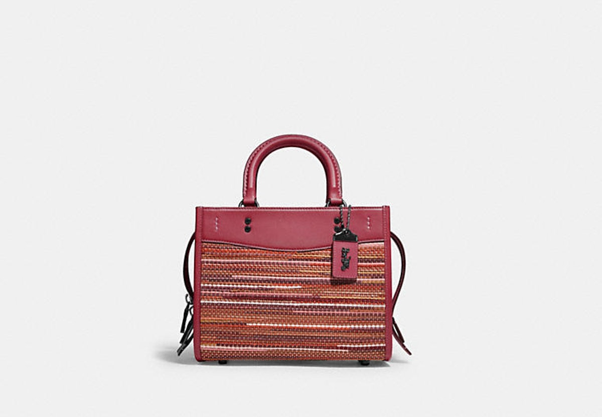 Coach Rogue 25 bag in red upwoven leather.