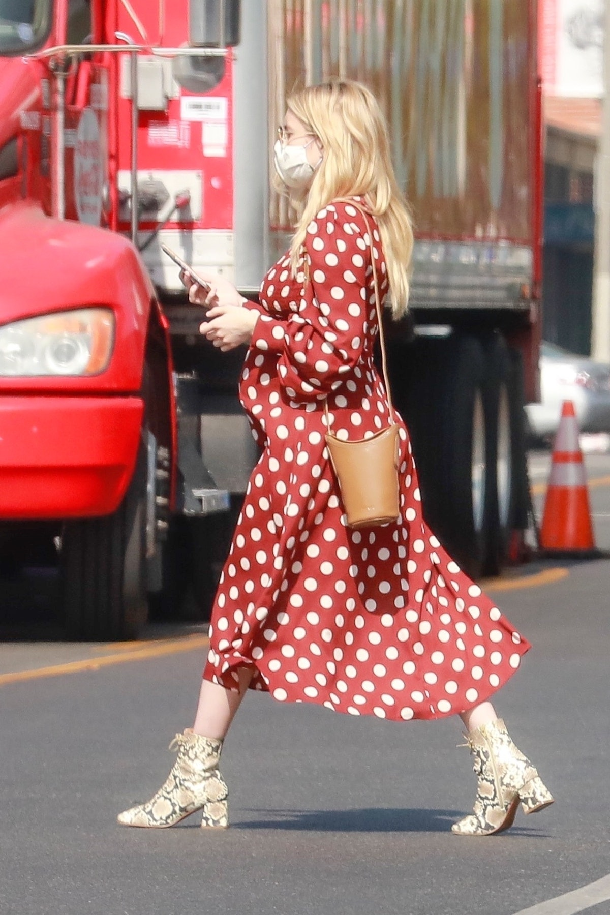 Emma Roberts' wearing a red and white polka dot from Zara in Los Angeles in October 2020.