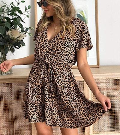KIRUNDO Leopard Mini Dress With Belt