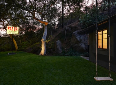 """At the home of David Kordansky, visitors are greeted by Lauren Halsey's """"WAZ UP!,"""" 2020."""