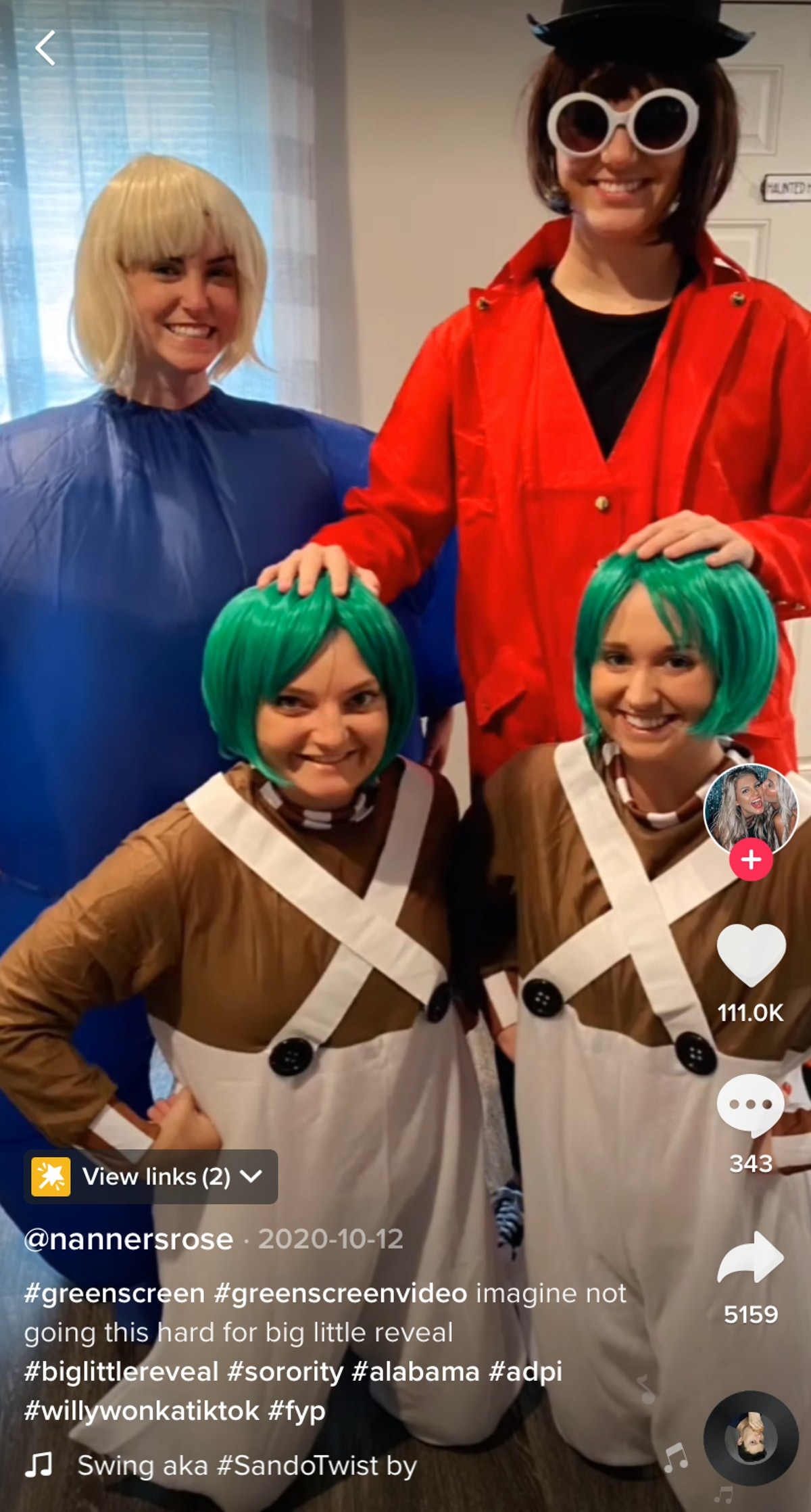 Sorority sisters dress up as characters from 'Charlie and the Chocolate Factory' for their Big Littl...