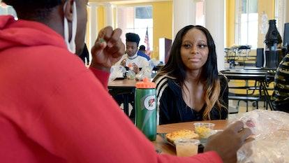 Morgan Miller and Amari Jones having a conversation in the Valdosta High cafeteria on 'Titletown Hig...