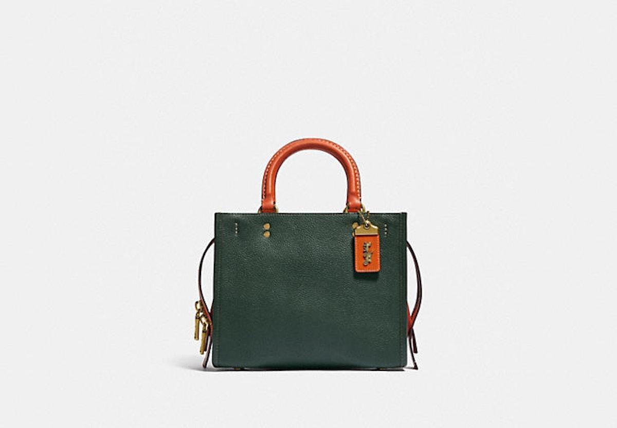 Coach Rogue 25 bag in Colorblock green.