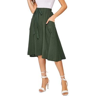 SweatyRocks A-Line Midi Skirt with Pocket