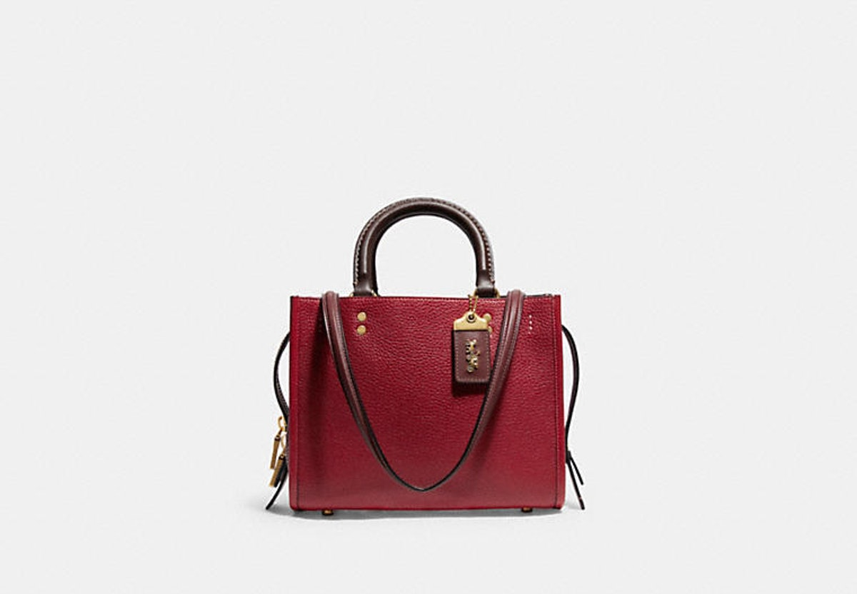 Coach Rogue 25 bag in red colorblock.