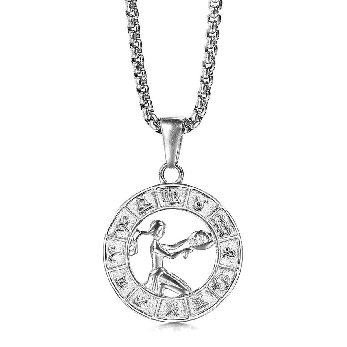 Silver Color 12 Horoscope Zodiac Sign Pendant Necklace For Women Men Stainless Steel Constellations ...