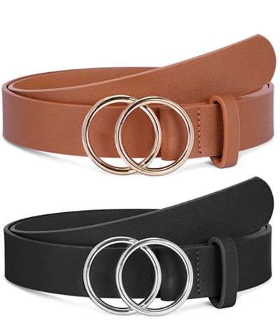 SANSTHS Faux Leather O Ring Belts (2-Pack)