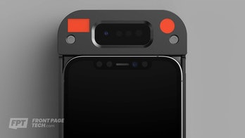A rendered image of the prototype Face ID case