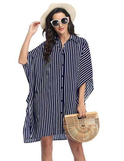 Ekouaer Oversized Button-Down Swim Cover-Up