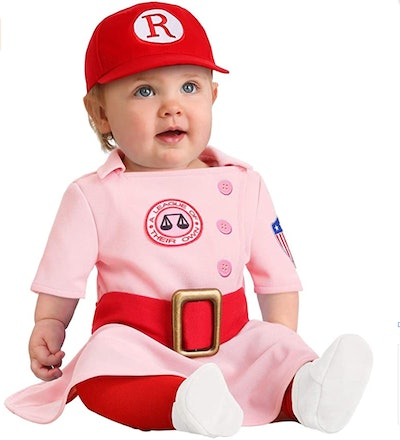 """Baby girl wearing costume from """"A League of Their Own"""""""