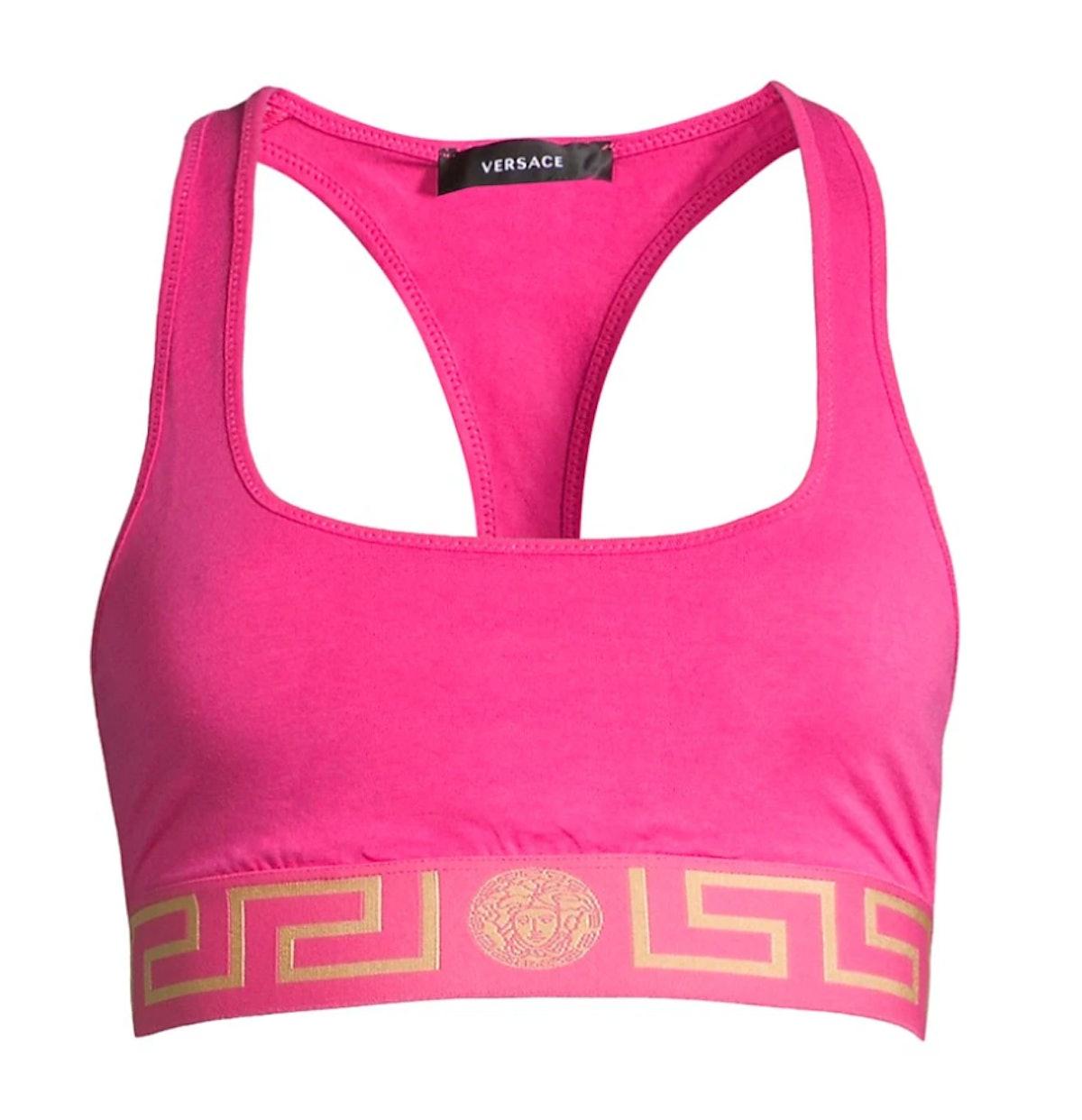 Versace's hot pink Greca sports bra.